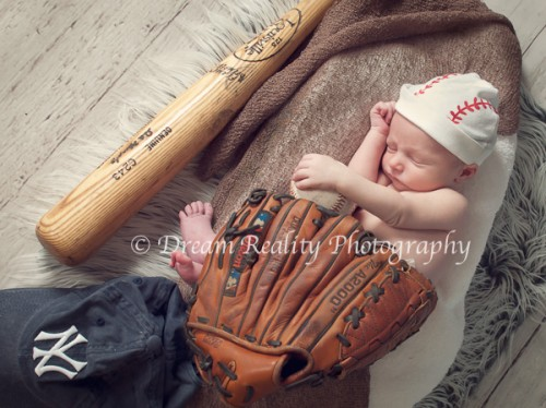 Newborn portraits 6 days old baseball sports baby portraits dream reality photography
