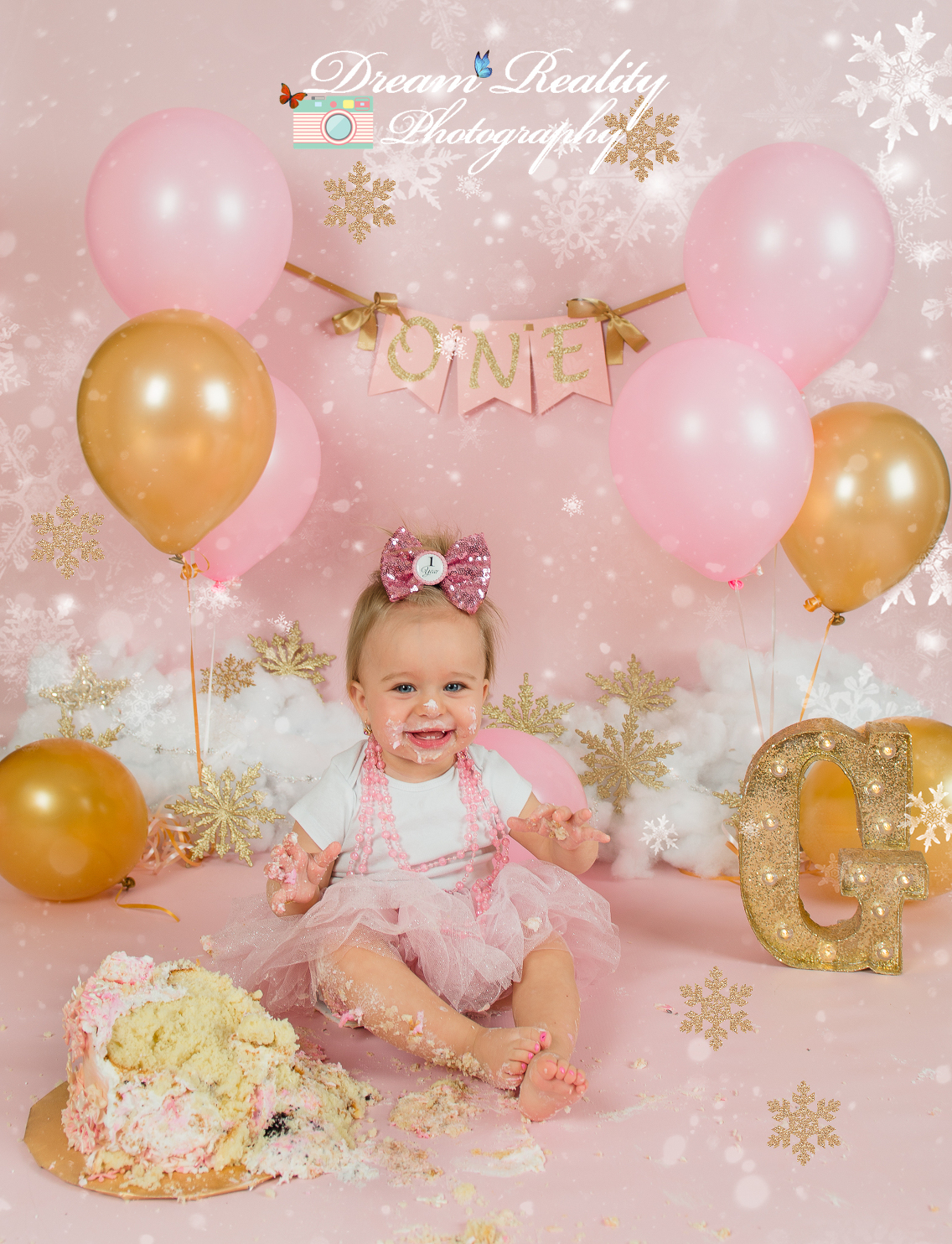 Awe Inspiring Winter Snowflakes And Pink First Birthday Girl Cake Smash Howell Funny Birthday Cards Online Barepcheapnameinfo