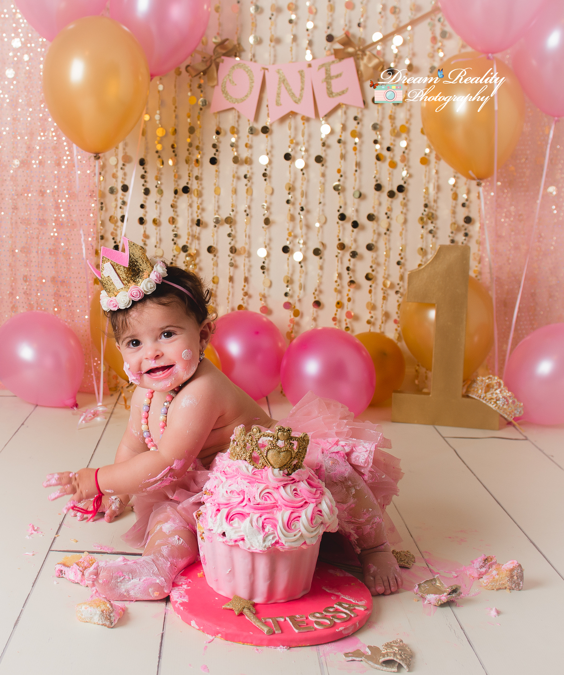 Terrific Pink Gold First Birthday Cake Smash Princeton Nj Newborn And Funny Birthday Cards Online Inifofree Goldxyz